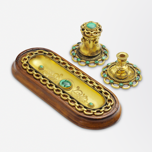 Ormolu Three Piece Desk Set with Malachite Cabochons
