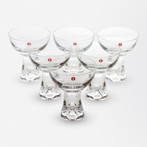 Set of Six Martini Cocktail Glasses
