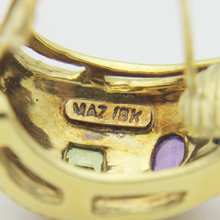 Load image into Gallery viewer, 18kt Gold, Amethyst, Topaz and Peridot Earrings by Maz