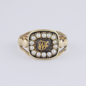 Georgian 18kt Gold, Enamel and Seed Pearl Mourning Ring