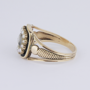 Gold and Seed Pearl Mourning Ring