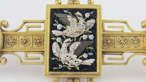 Boxed Victorian Micromosaic Brooch - The Antique Guild