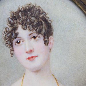English C.1810 Miniature Painting of a Young Woman in the Empire Style Dress