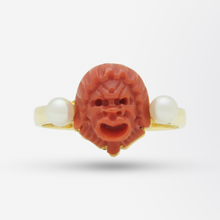 Load image into Gallery viewer, 18kt Yellow Gold, Carved Coral, and Twin Pearl Ring