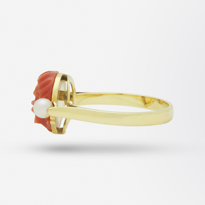 18kt Yellow Gold, Carved Coral, and Twin Pearl Ring