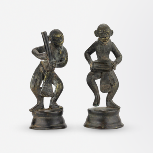 Pair of Indian Bronze Monkey Figures