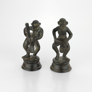Pair of Indian Bronze Monkey Figures - The Antique Guild