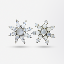 Load image into Gallery viewer, Pair of Retro Dress Clips With Moonstones