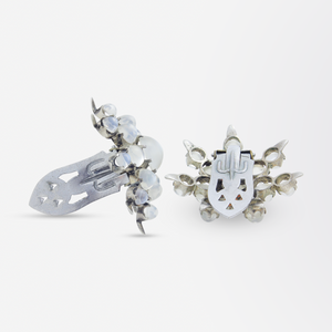 Pair of Retro Dress Clips With Moonstones