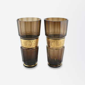Pair of Large Brown Glass Vases with Gold Frieze by Moser