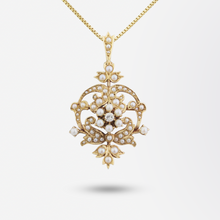 Load image into Gallery viewer, Victorian 14kt Yellow Gold, Diamond and Seed Pearl Lavalier Brooch Necklace