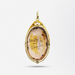 14kt Gold Pendant with Enamelled Portrait and Diamonds