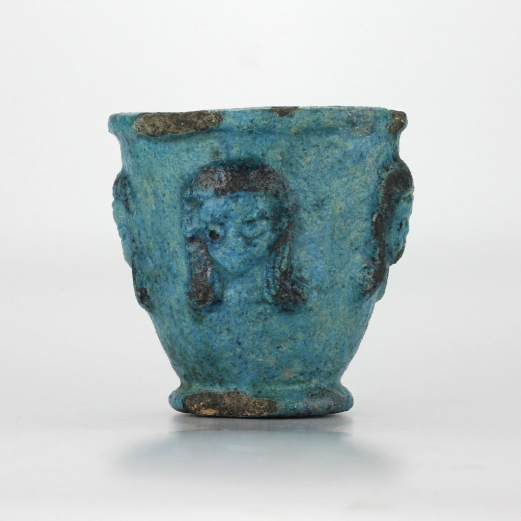 Ancient Egyptian Blue Faience Offering Cup - The Antique Guild