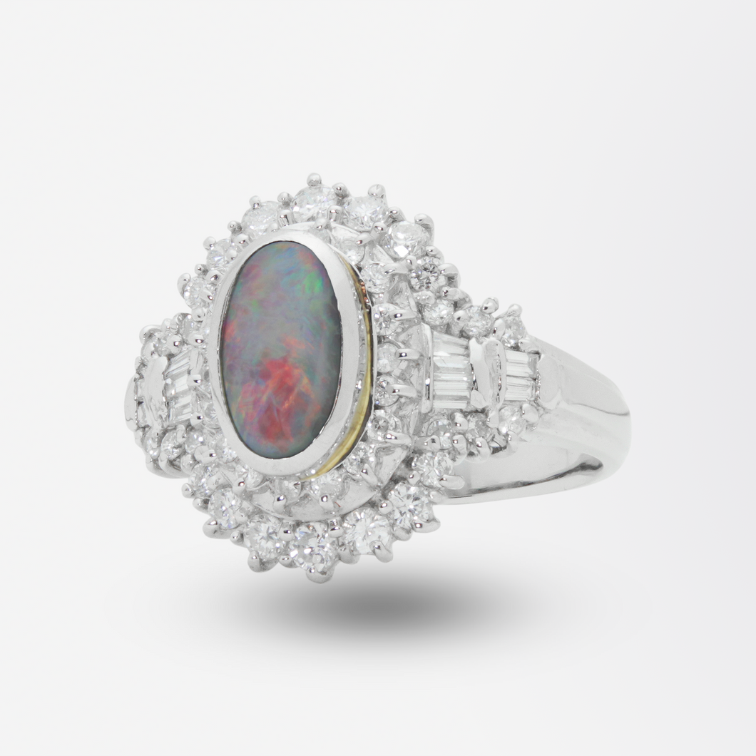 Platinum, Lightning Ridge Opal and Diamond Ring