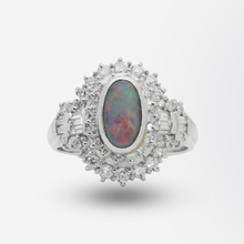 Load image into Gallery viewer, Platinum, Lightning Ridge Opal and Diamond Ring