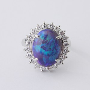 Platinum, Diamond, and Black Opal Ring
