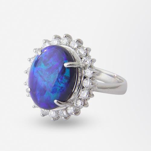 Platinum, Diamond and Australian Black Opal Ring