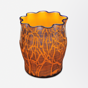 Art Deco Orange and Cobalt Vase by Loetz