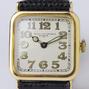Cushion Shaped, Art Deco, 18kt Gold Patek Philippe Wristwatch