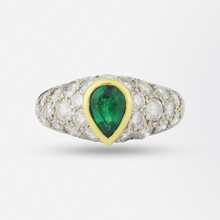 Load image into Gallery viewer, Platinum, Diamond and Emerald Ring