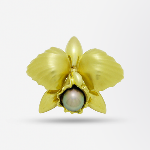 18kt Gold Large Orchid & Tahitian Pearl Pendant