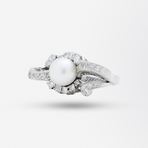 Retro Period, 18kt White Gold, Pearl, and Diamond Ring