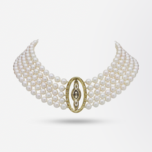 Load image into Gallery viewer, Five Strand Pearl Choker With Belle Epoque Diamond And Sapphire Plaque