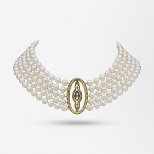 Five Strand Pearl Choker With Belle Epoque Diamond And Sapphire Plaque