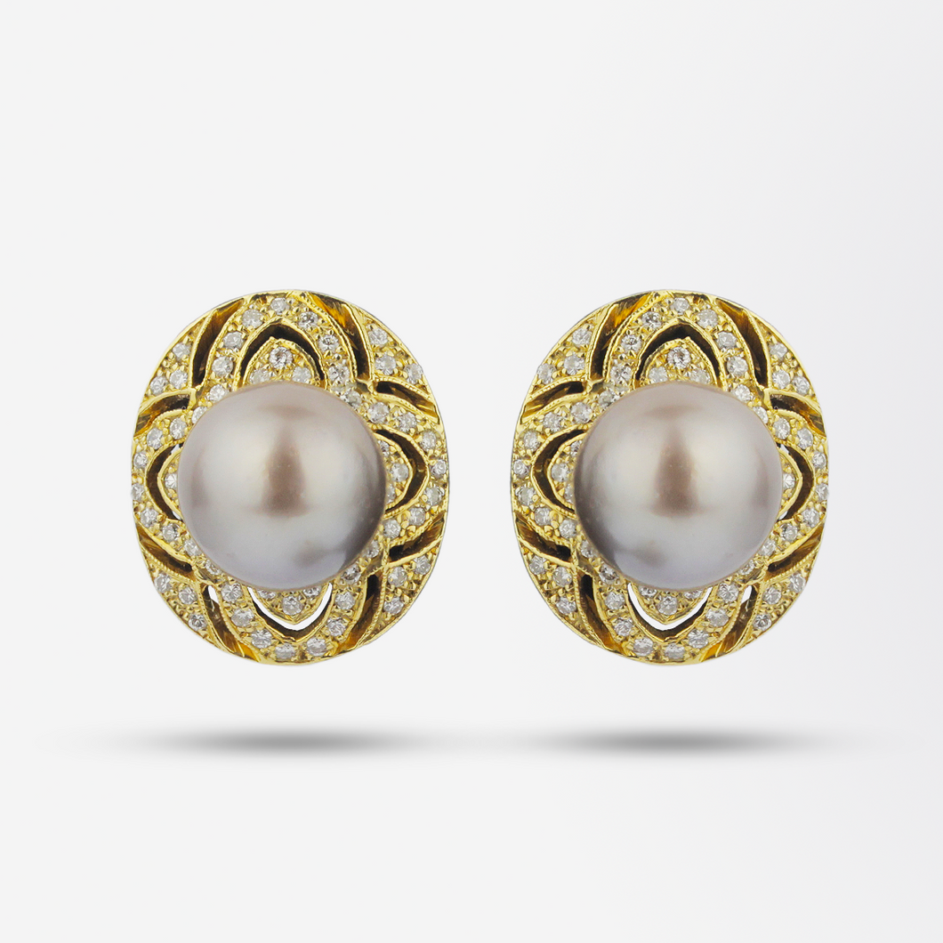 18kt Tahitian Pearl and Diamond Stud Earrings