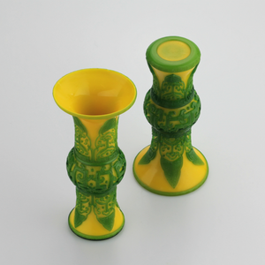 Pair of Chinese Peking Glass 'Gu' Form Vases