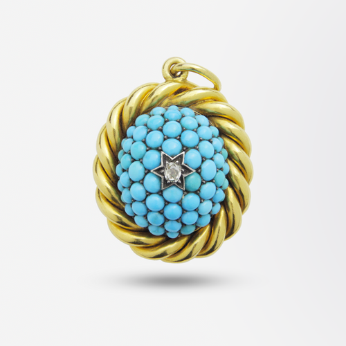Victorian 18kt Gold, Turquoise and Diamond Pendant