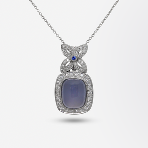 18kt White Gold, Diamond, Sapphire and Chalcedony Pendant Enhancer