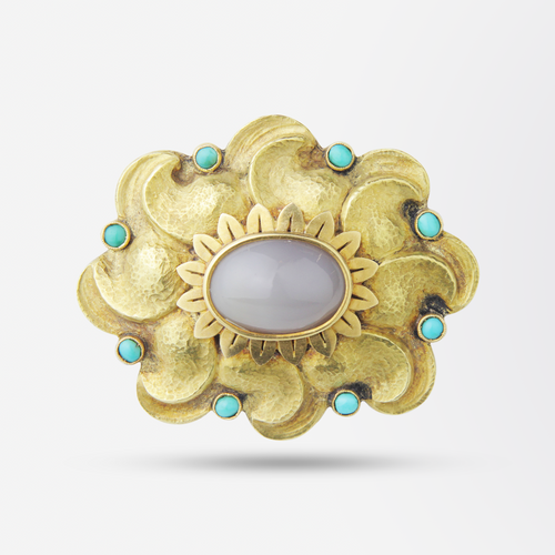 18kt Yellow Gold, Agate and Turquoise Brooch Pin