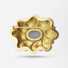 Load image into Gallery viewer, 18kt Yellow Gold, Agate and Turquoise Brooch Pin