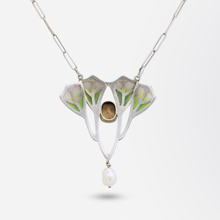 Load image into Gallery viewer, French Art Nouveau Plique-a-jour Necklace
