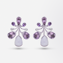Load image into Gallery viewer, Bold 18kt Gold, Lavender Jade, Amethyst, Tourmaline and Diamond Drop Earrings
