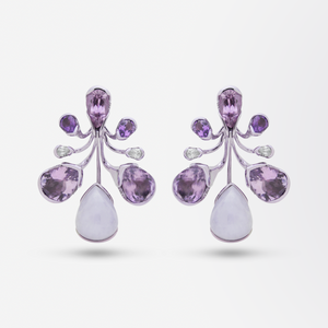 Bold 18kt Gold, Lavender Jade, Amethyst, Tourmaline and Diamond Drop Earrings