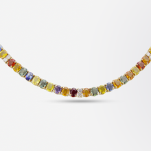 Load image into Gallery viewer, 14kt Yellow Gold, Diamond and Multicolour Sapphire Necklace