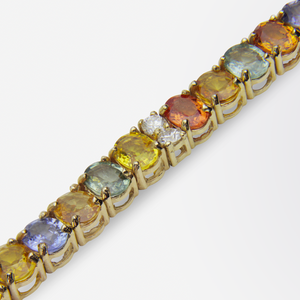 14kt Yellow Gold, Diamond and Multicolour Sapphire Necklace