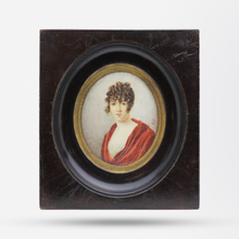 Load image into Gallery viewer, English C.1810 Miniature Painting of a Young Woman in Empire Style Dress in Original Dark Timber Frame