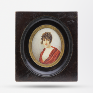 English C.1810 Miniature Painting of a Young Woman in Empire Style Dress in Original Dark Timber Frame
