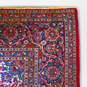 Iranian Red & Blue Mashad Rug