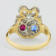 Load image into Gallery viewer, Lovers Heart Ring with Diamonds, Rubies & Sapphires - The Antique Guild