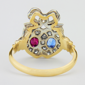 Lovers Heart Ring with Diamonds, Rubies & Sapphires - The Antique Guild