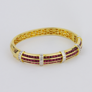18kt Ruby and Diamond Hinged Bracelet