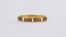 Load image into Gallery viewer, 18kt Ruby and Diamond Hinged Bracelet