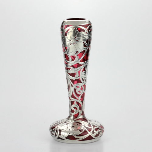 Art Nouveau Sterling Silver and Ruby Glass Vase - The Antique Guild