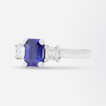 Load image into Gallery viewer, Platinum, Ceylon Sapphire and Diamond Ring
