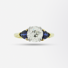 Load image into Gallery viewer, 18kt Gold, 2.15 Carat Old European Cut Diamond and Sapphire Ring