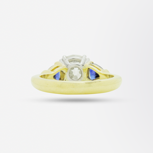 18kt Gold, 2.15 Carat Old European Cut Diamond and Sapphire Ring